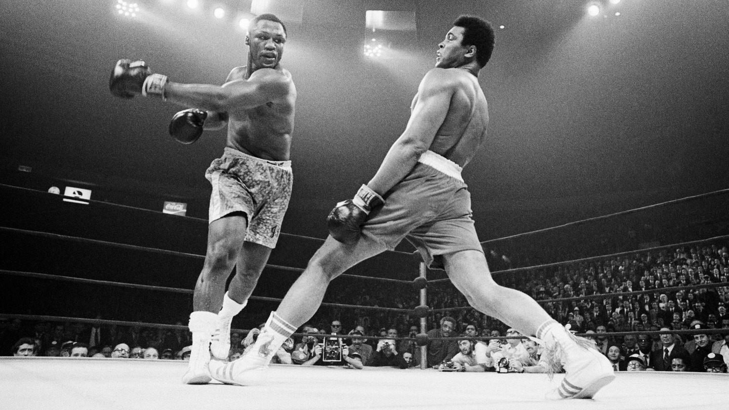 Joe Frazier and Muhammad Ali at Madison Square Garden in 1971