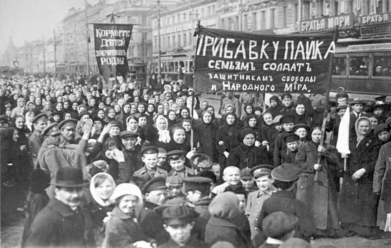 Demonstration of workers Putilovskogo factory on the first day of the February Revolution of 1917, Wikimedia Commons