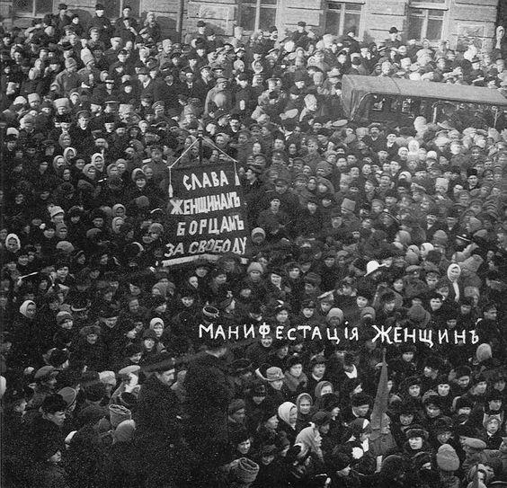 Women march on International Women's Day, 1917