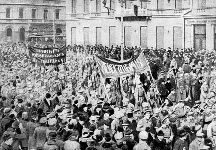Soldiers demonstrate in February